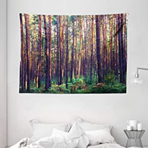 """Ambesonne Forest Tapestry, Forest in The Morning Tall Trees Trunks Greenery Natural Environment Picture Print, Wide Wall Hanging for Bedroom Living Room Dorm, 80"""" X 60"""", Brown Green"""