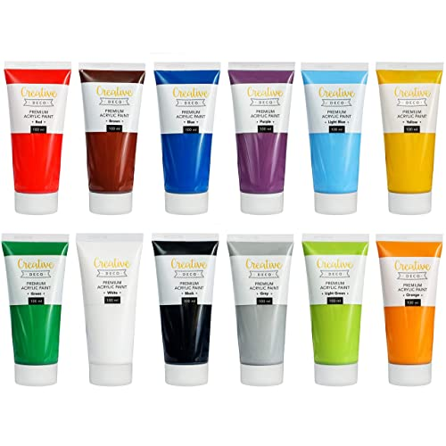 Creative Deco Peinture Acrylique XXL | Lot 12 Grands Tubes 100 ml | Fabriqué en UE | Idéal pour Enfants Débutants Étudiants Artistes Professionnels | Idéal pour Bois Toile Tissu et Papier