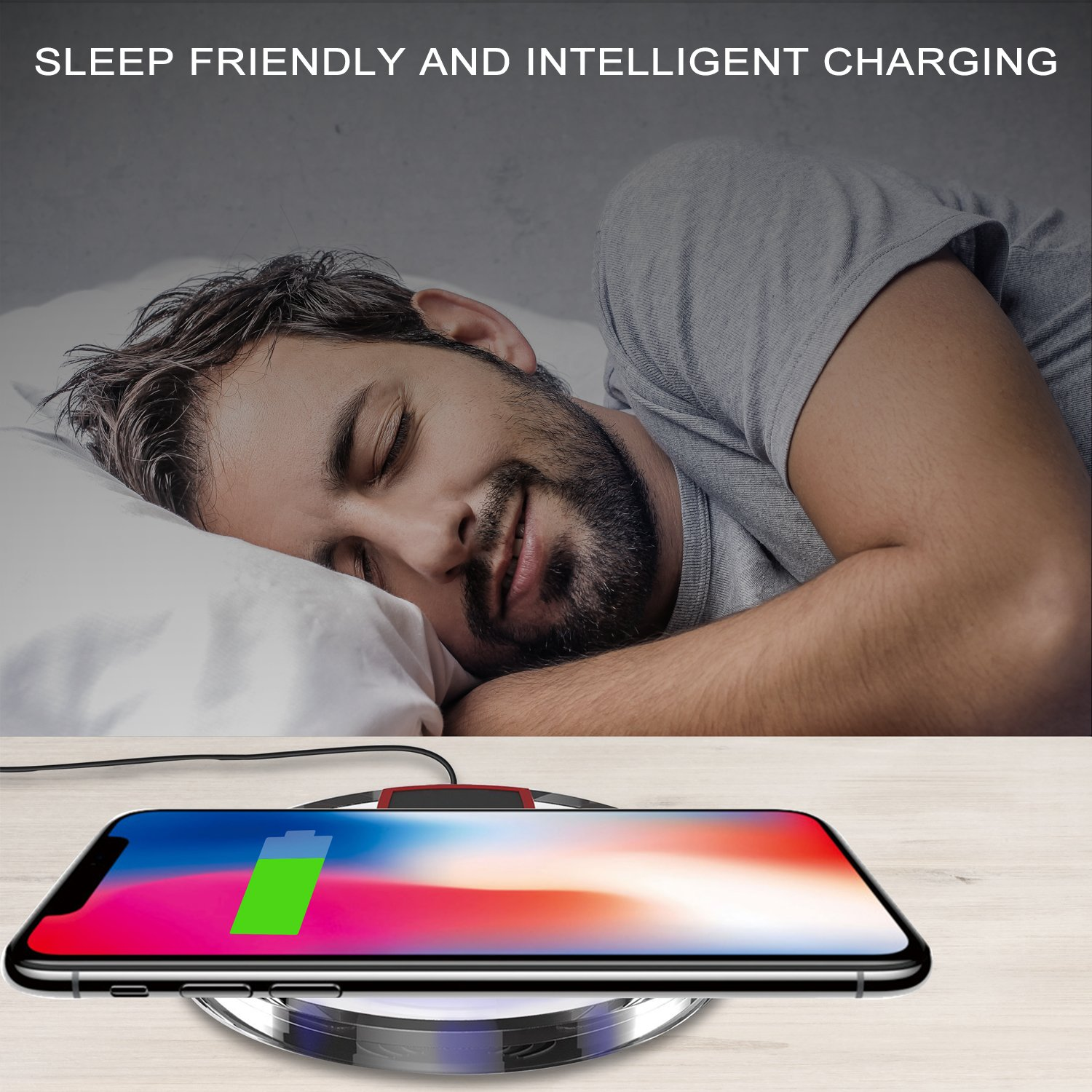 Wireless Charger, Wewdigi Wireless Charging Ultra Slim Wireless Charger for iPhone X / 8 / 8 Plus, Sleep-friendly with Anti-Slip Rubber NO AC Adapter -- Black by Wewdigi (Image #7)