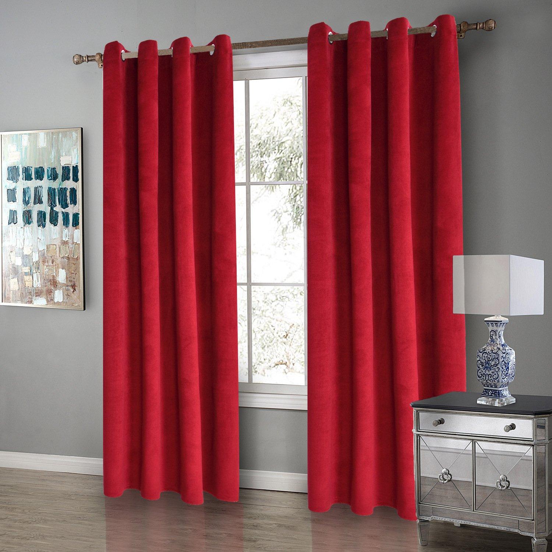 Rideau Uni à Oeillet Voilage Occultant de Fenêtre en Doux Velours Hollandais Décoration Luxe pour Chambre et Salon 1Pièce/Paquet (rouge) (140x160cm) Darget
