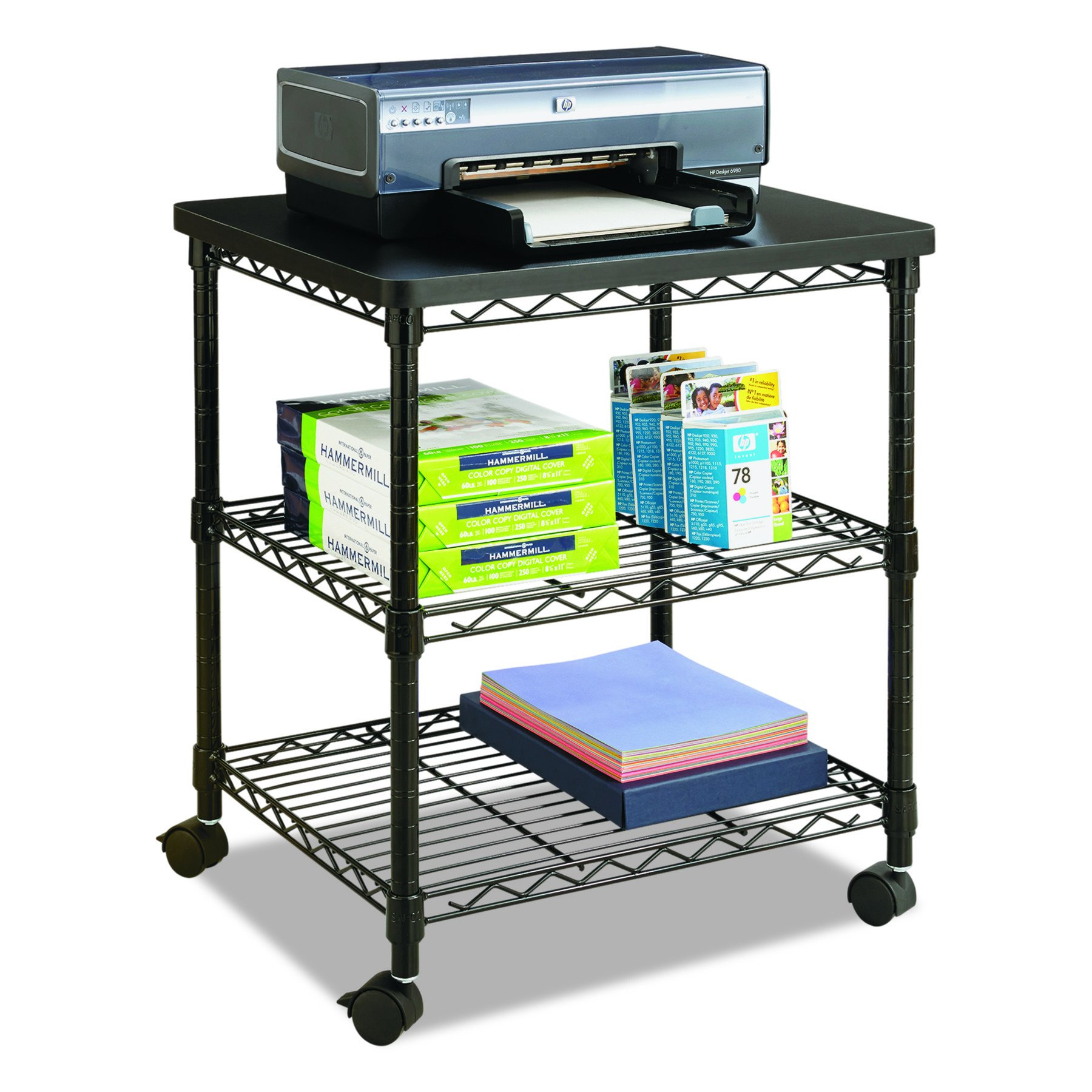 Safco Products 5207BL Desk Side Wire Machine Stand, Black