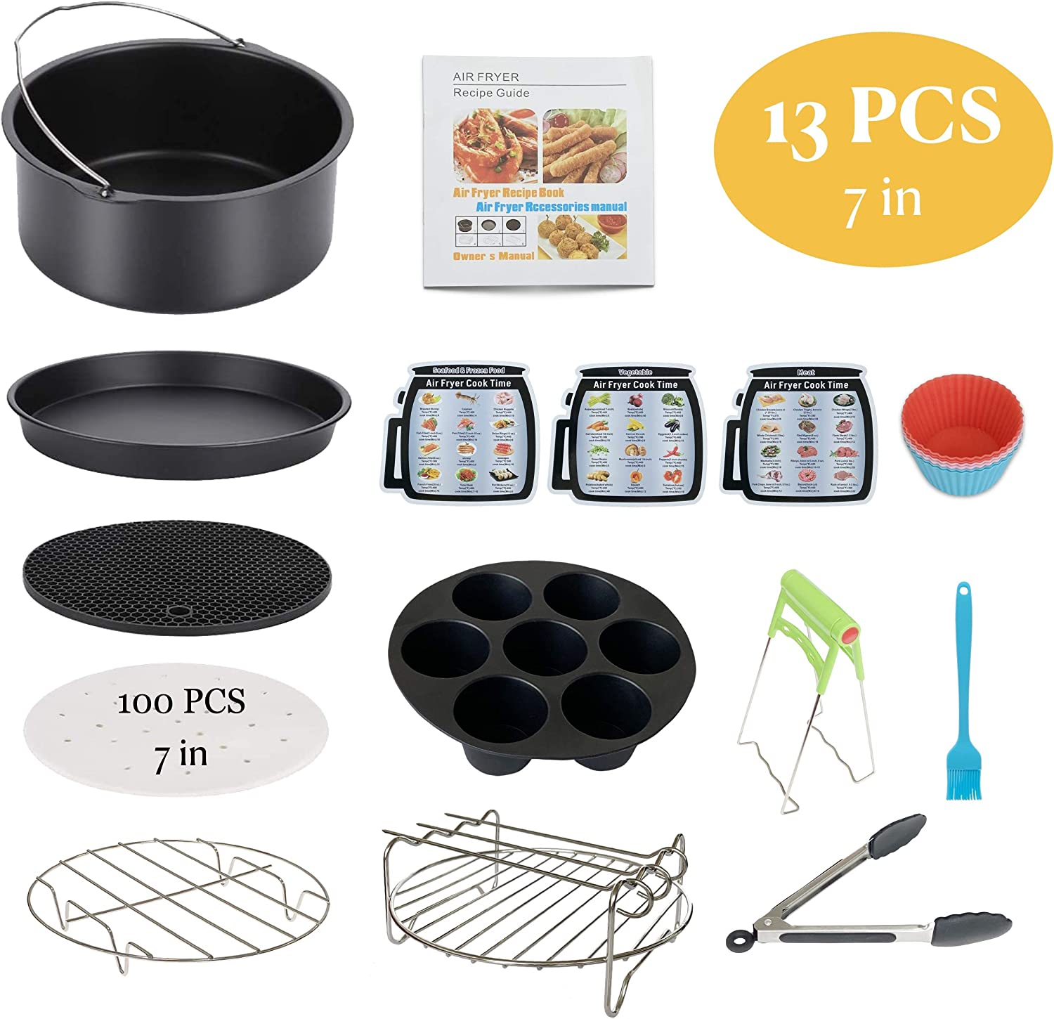 Air Fryer Accessories 13PCS for Phillips Nuwave Gowise Gourmia Ninja Dash Air Fryer, Fit all 3.2-4.0-5.8QT Air Fryer with 7 Inch Cake Pan, Pizza Pan, Silicone Baking Cups, Skewer Rack, Parchment Paper