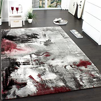 07fb2e8d78a858 Paco Home Tapis Design Moderne Toile Splash Gris Rouge Crème Marbré,  Dimension 160x230 cm