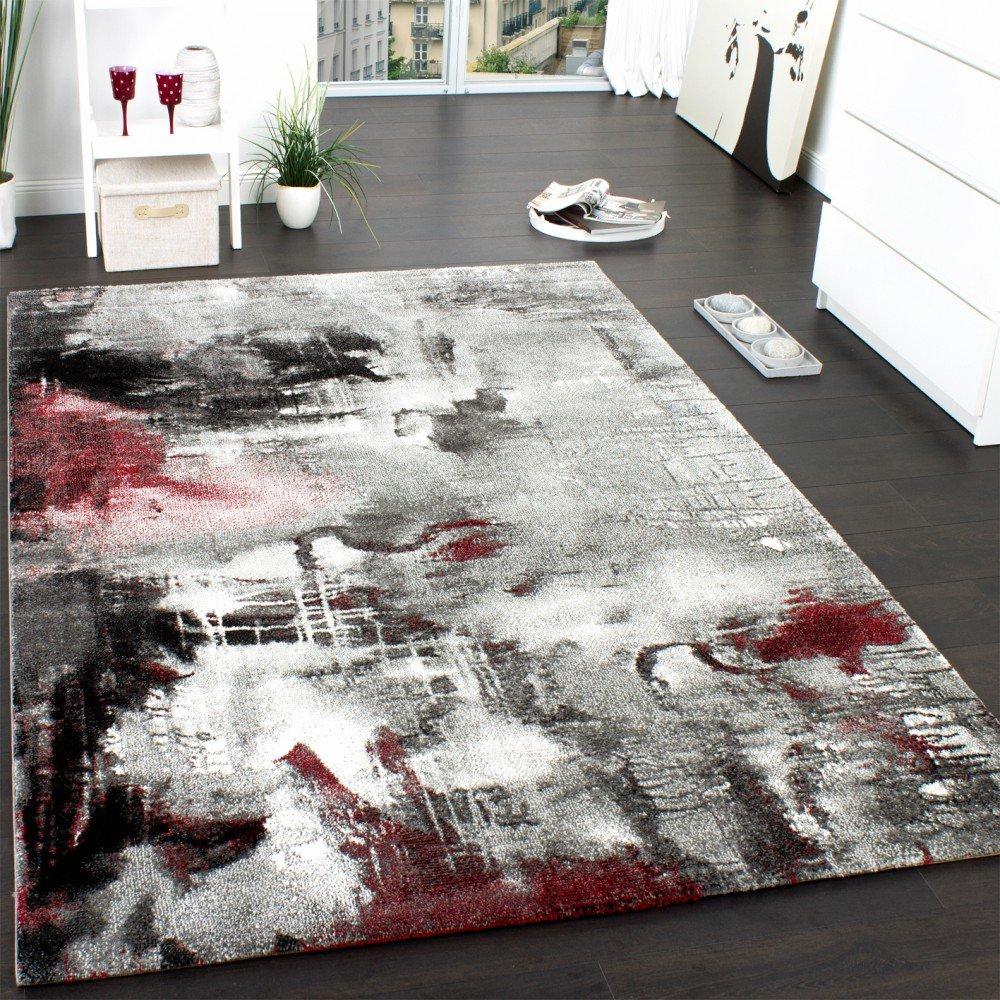 PHC Teppich Modern Designer Teppich Leinwand Optik Meliert Schattiert Grau Rot Creme, Grösse 200x290 cm