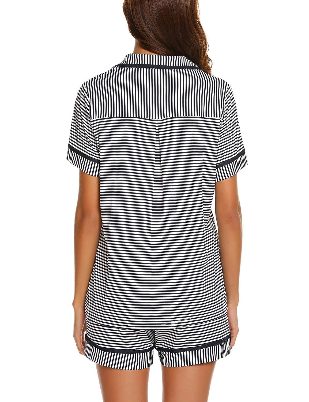 Ekouaer Pajamas Soft Striped Womens Short Sleeve Button Sleepwear Shorts Shirt PJ Set S-XXL