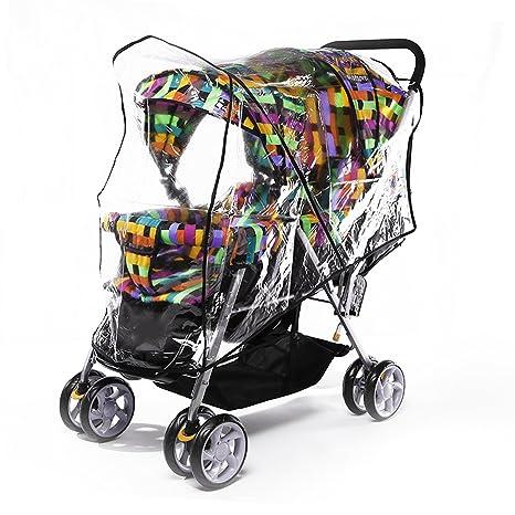 Gosear Universal PVC Cubierta Impermeable Transparente Cortina de la Lluvia para Doble Gemelos Cochecito Bebé Delantero