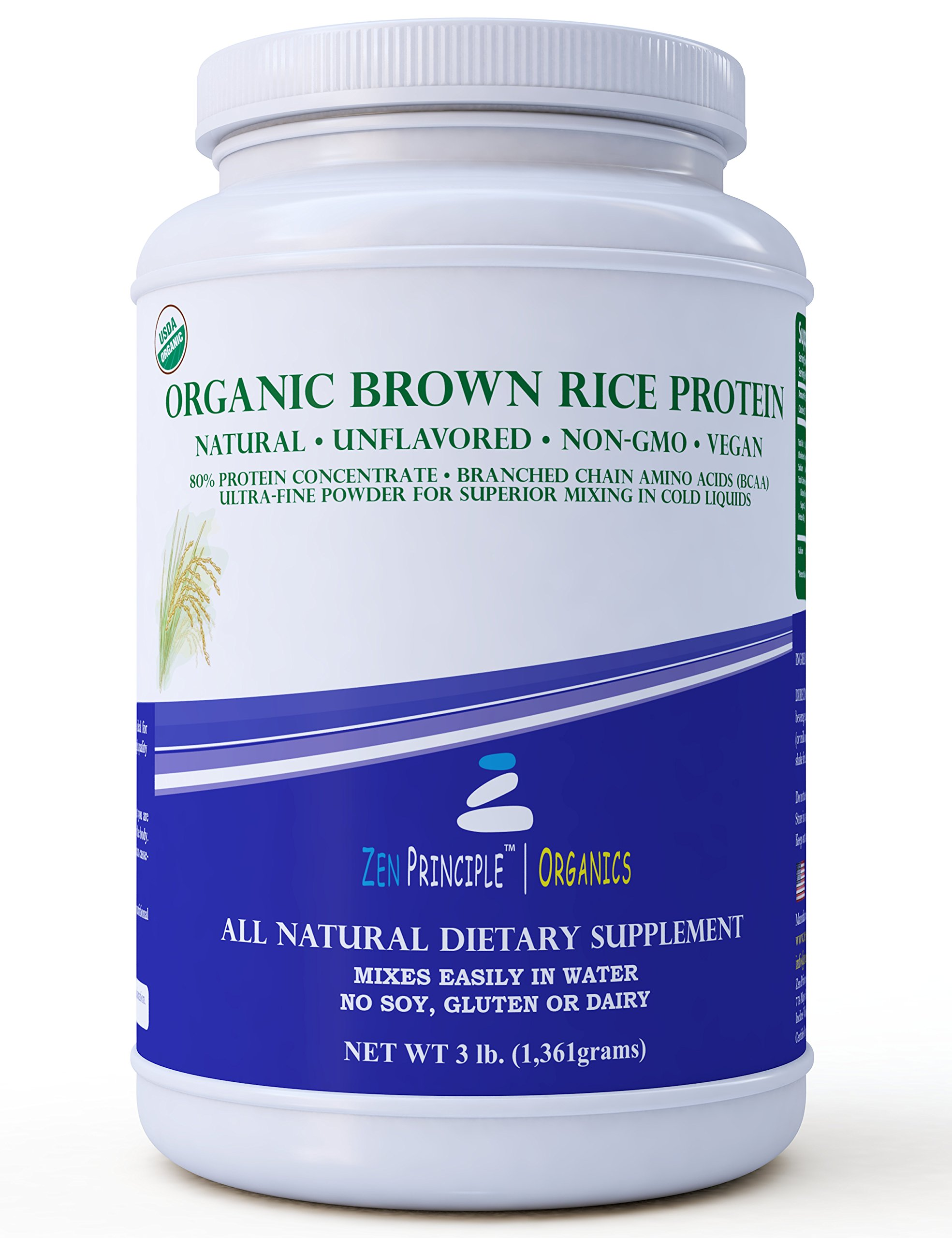3 lb. Organic Brown Rice Protein Powder. USDA Certified. 80% Protein. No GMO, Soy or Gluten. Vegan. Full Spectrum Amino Acids (BCAA). Ultra-fine Powder Mixes Best in Drinks. by Zen Principle (Image #1)