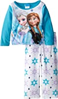 Disney Little Girls' Toddler Frozen Anna and Elsa Cozy Fleece Pajama Set