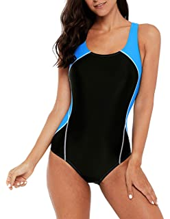 47f5a0f254 beautyin Women's Athletic One Piece Swimsuits Racerback Competitive Bathing  Suit