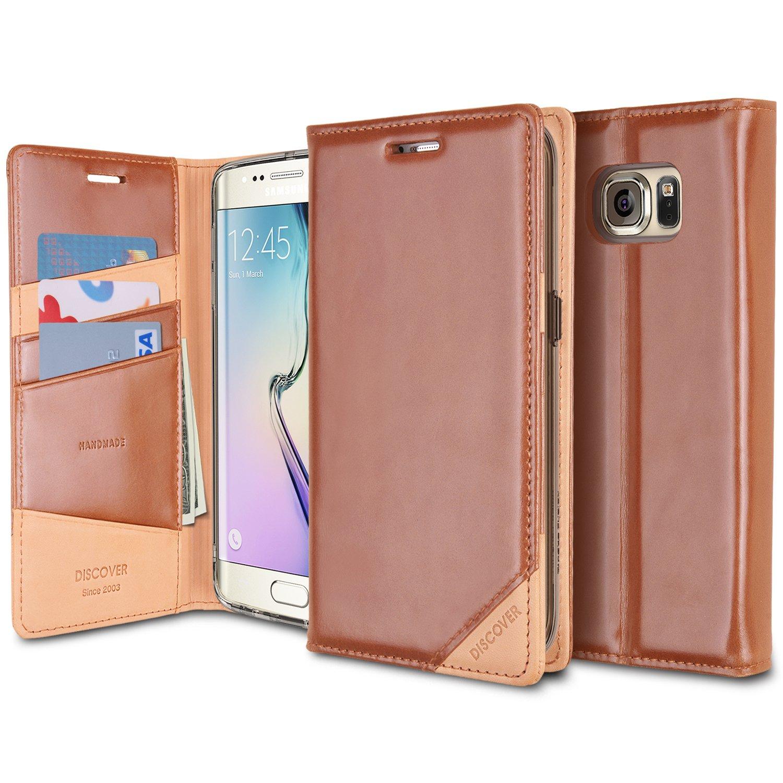 Ringke Funda para Galaxy S6 Edge Discover Funda [Brown Marrón] Cuero Auténtico y Cubierta con Monedero Funda para Samsung Galaxy S6 Edge