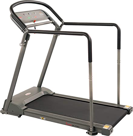Sunny Health & Fitness Walking Treadmill with Low Wide Deck and Multi-Grip Handrails for Balance, 295 LB Max Weight - SF-T7857, Gray