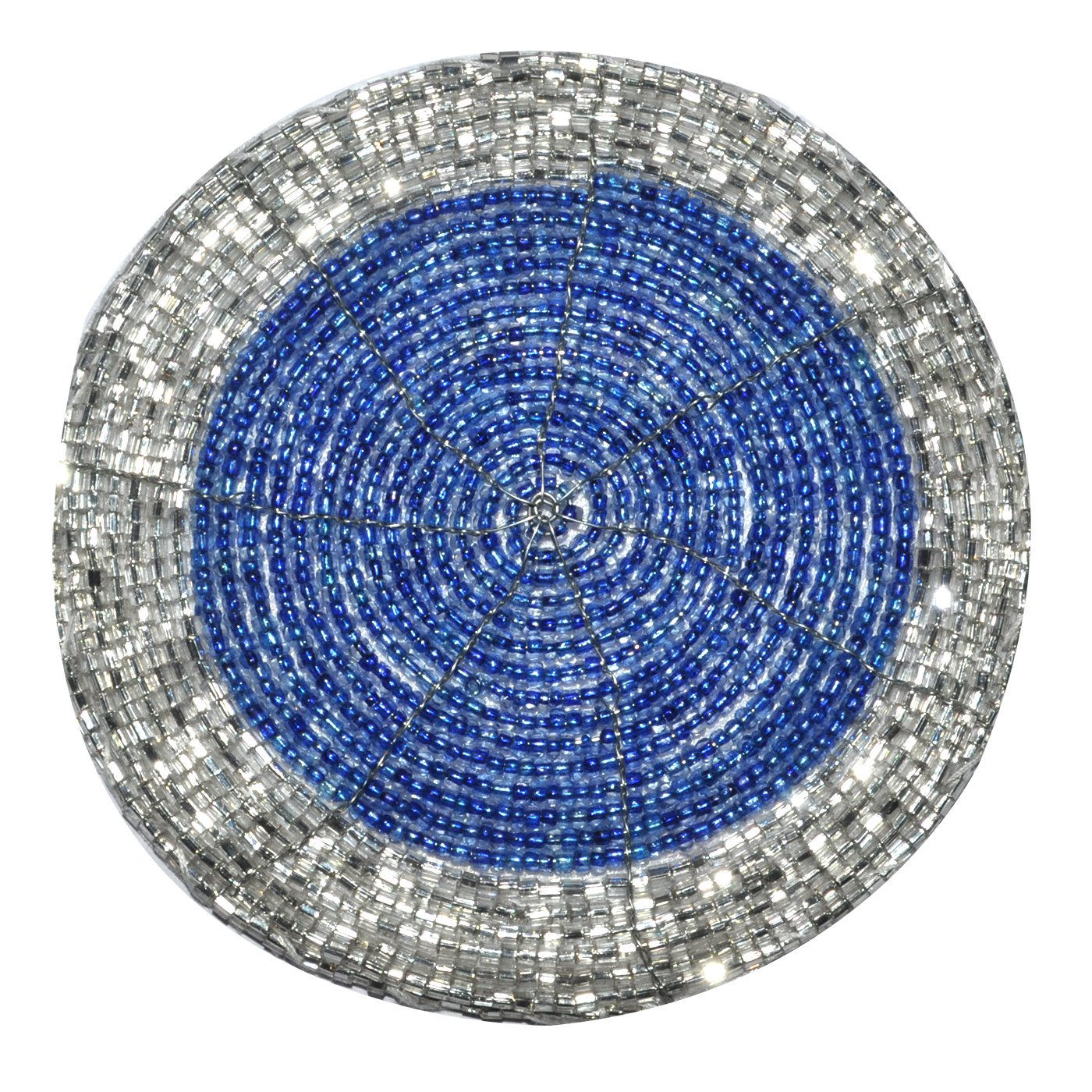 DakshCraft 4 Beaded Round Ethnic Placemat/Tablemat(Dia - 12'') with 4 tea cup coaster(Dia - 4'') and 4 napkin ring(Dia -1.5'') for Christmas Gift, Decorative Item, Gifts Purpose, dining accessories by DakshCraft (Image #4)