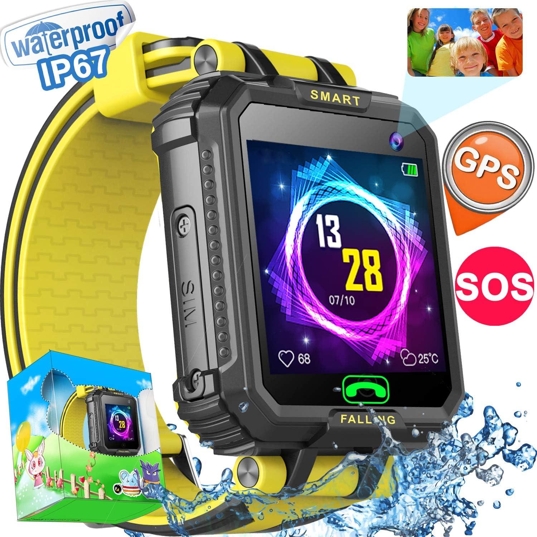 Reloj inteligente para niños con tarjeta SIM IP68, resistente al agua, reloj inteligente con GPS para niñas y niños con cámara digital de 2 vías, llamadas de 2 vías, juegos de SOS,