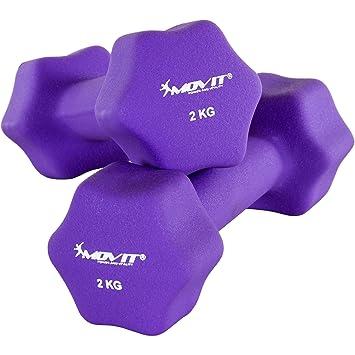 Movit Par de Mancuernas Recubiertos de Neopreno mancuerna de una Mano Pesas de 2 x 2,0 kg púrpura: Amazon.es: Deportes y aire libre