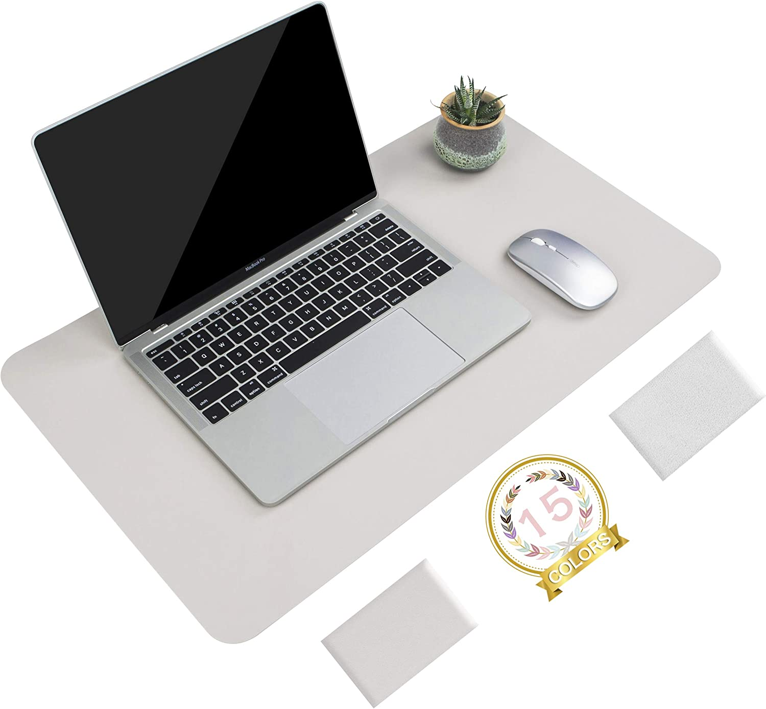 Non-Slip Desk Pad, Waterproof PVC Leather Desk Table Protector, Ultra Thin Large Mouse Pad, Easy Clean Laptop Desk Writing Mat for Office Work/Home/Decor (Apricot Gray, 23.6