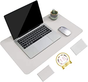 """Non-Slip Desk Pad, Waterproof PVC Leather Desk Table Protector, Ultra Thin Large Mouse Pad, Easy Clean Laptop Desk Writing Mat for Office Work/Home/Decor (Apricot Gray, 23.6"""" x 13.7"""")"""