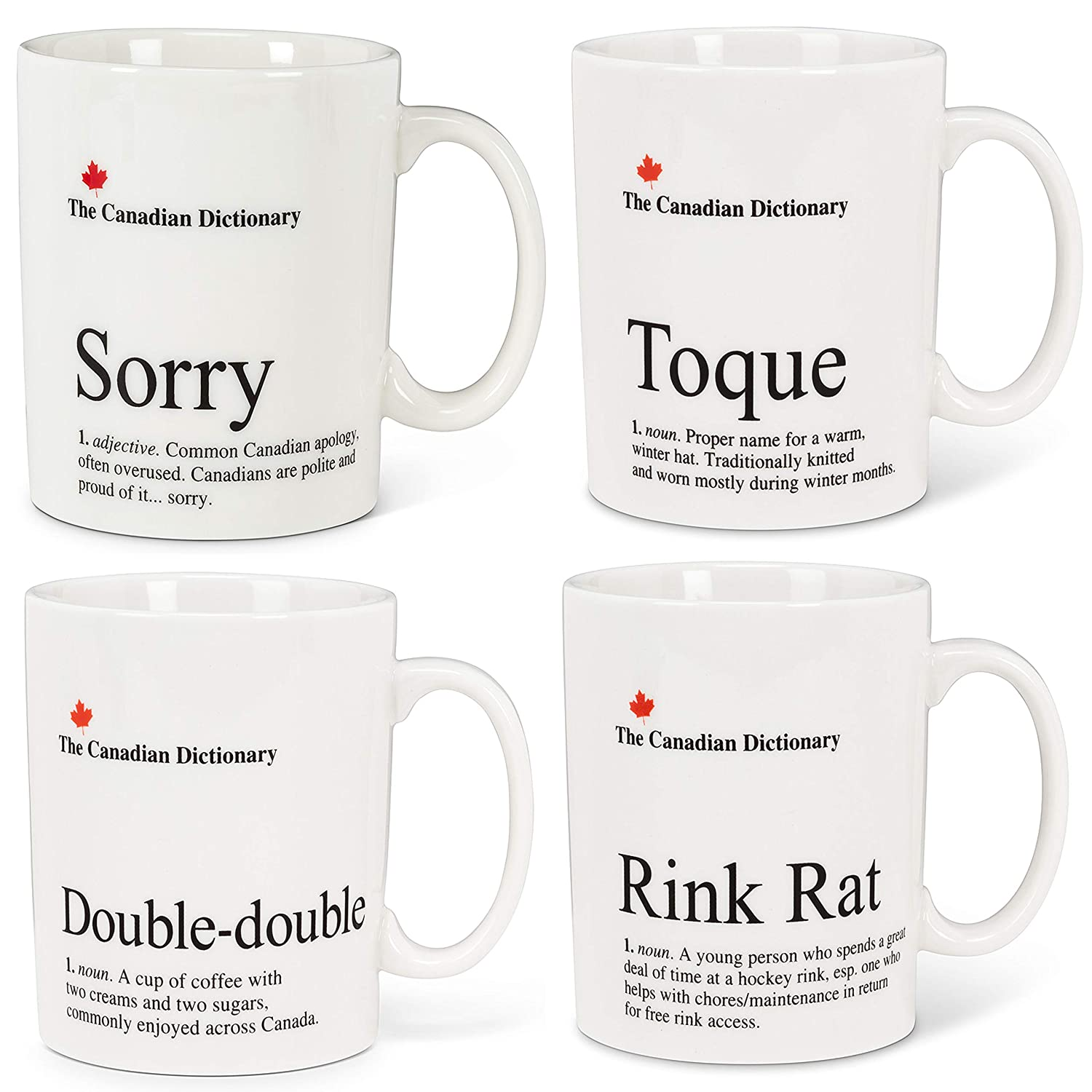 Double-Double Rink Rat Set of 4 Touque Canadian Dictionary Mugs : Sorry
