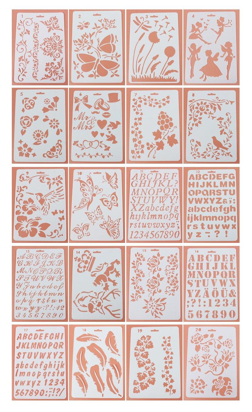 Lirener 20 piezas plástico Bullet Journal Stencil Set(mariposa, flores, Ángel, carta, número), plantilla de dibujo planificador plástico para ...