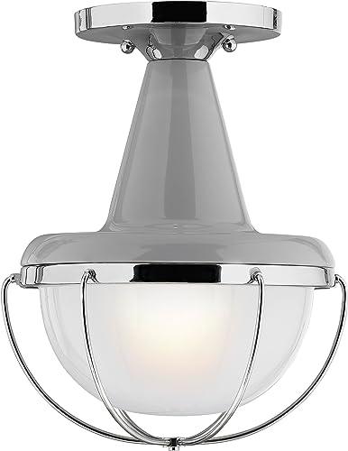 Feiss OL14013HGG PN 1-Bulb High Outdoor Flush Mount Lantern, Gloss Gray Polished Nickel Finish