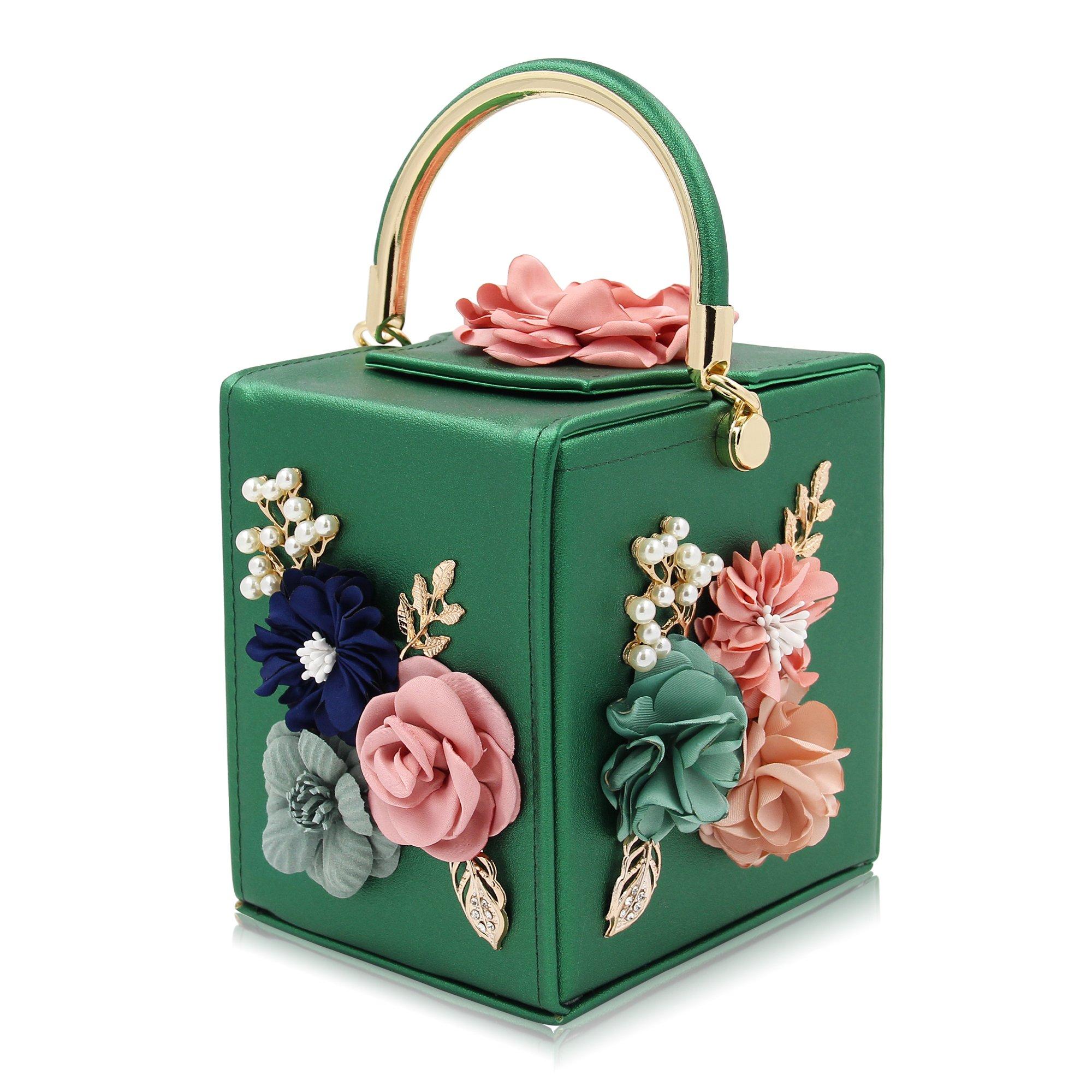 Milisente Women Clutches Flower Clutch Bag Box Clutch Purse Evening Handbag (Green)