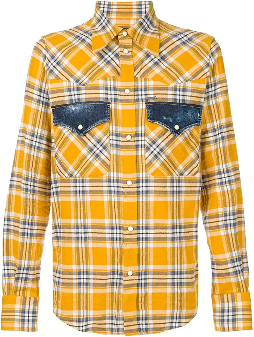 DSQUARED2 Camisa Cuadros Bolsillo Denim S74DM0172S48929 Color Amarillo, Talla 48.: Amazon.es: Ropa y accesorios