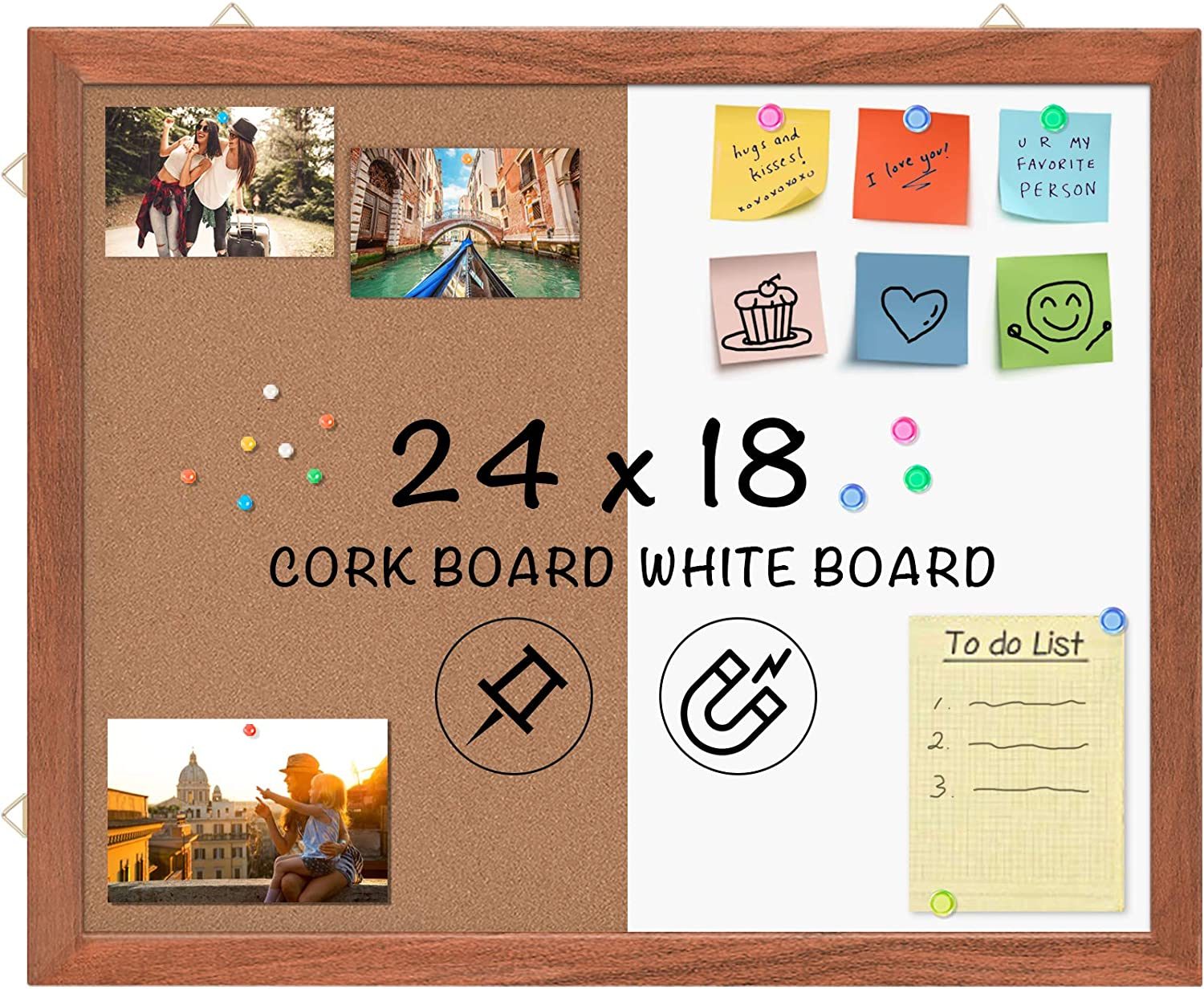 Wood Frame Combo Board Dry Erase Cork Board Combination Magnetic Whiteboard & Bulletin Board, 24 x 18 inches Combo Dry Erase Board Hanging Message Board Wall Mounted for Decor, Home, Office, Classroom