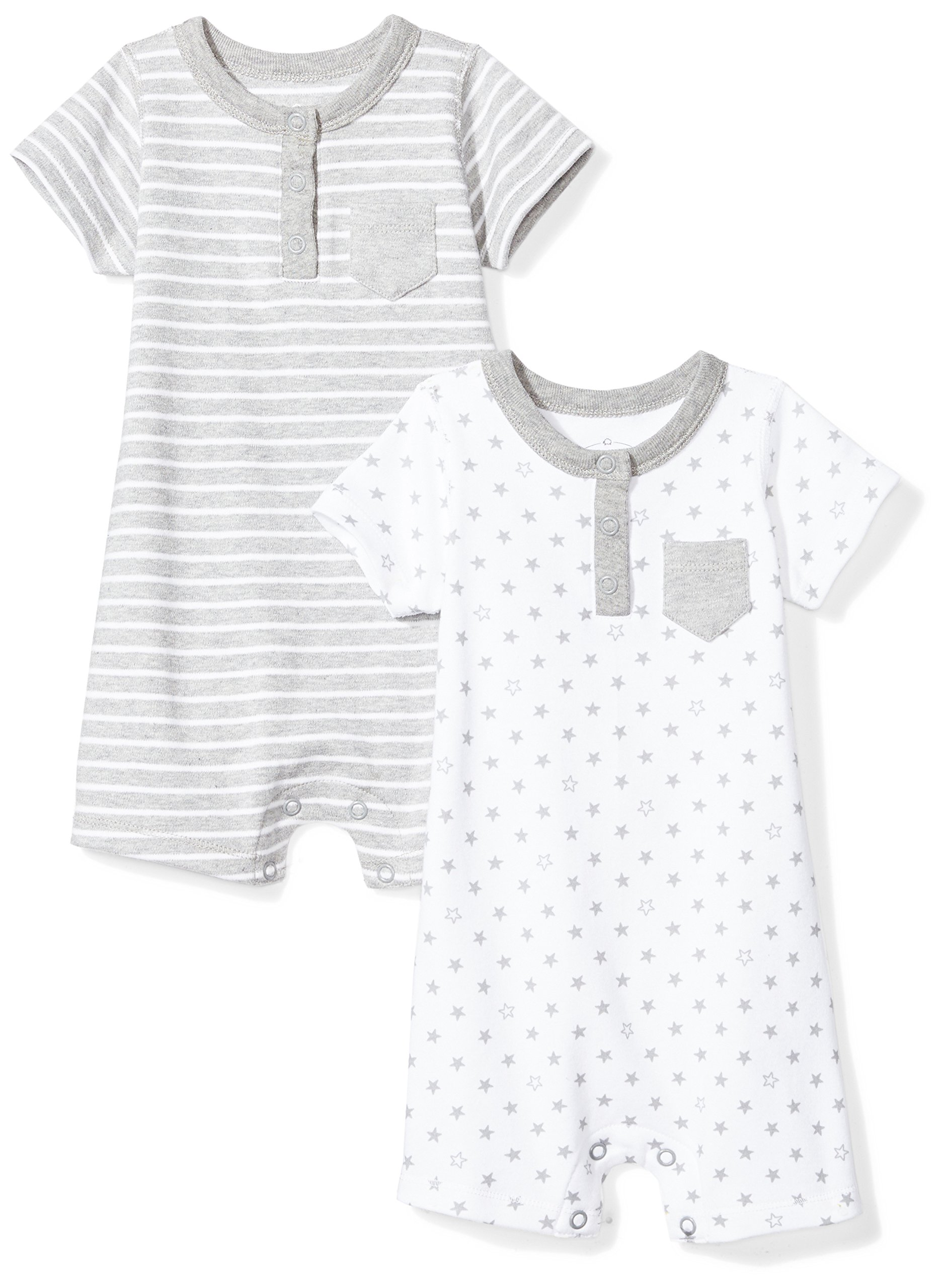 Moon and Back Baby Set of 2 Organic Rompers, Grey