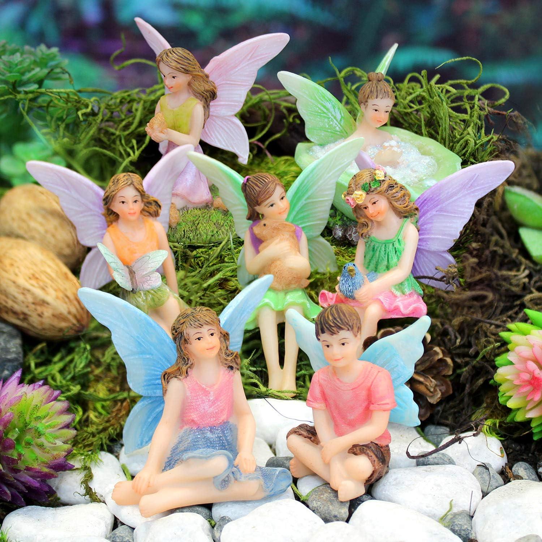 Little Kim World Fairy Friends 7 Piece Set - Set of Seven Miniature Fairy Figurines for Fairy Gardens