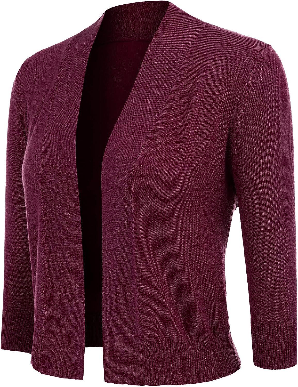 Cardigan for Women 3//4 Sleeve Classic Open Front Plus Size Cropped Bolero Women Shrug
