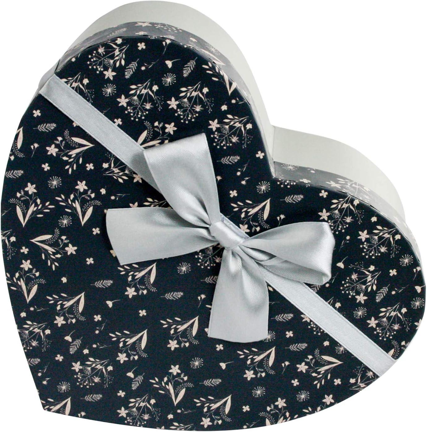 Emartbuy Lujo Rígido Caja de Regalo de Presentación en Forma de Corazón, 15 cm x 13.8 cm x 6.4 cm, Caja Gris Con Tapa Floral, Interior a Cuadros Blanco y Cinta de Plata Con Lazo