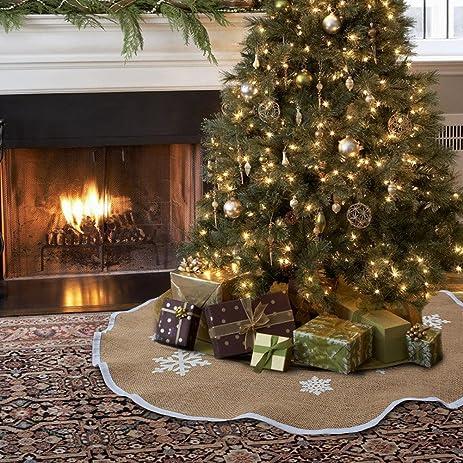 aytai christmas tree skirt 48 inch burlap tree skirt white snowflake printed christmas decorations indoor outdoor - Amazon Christmas Tree