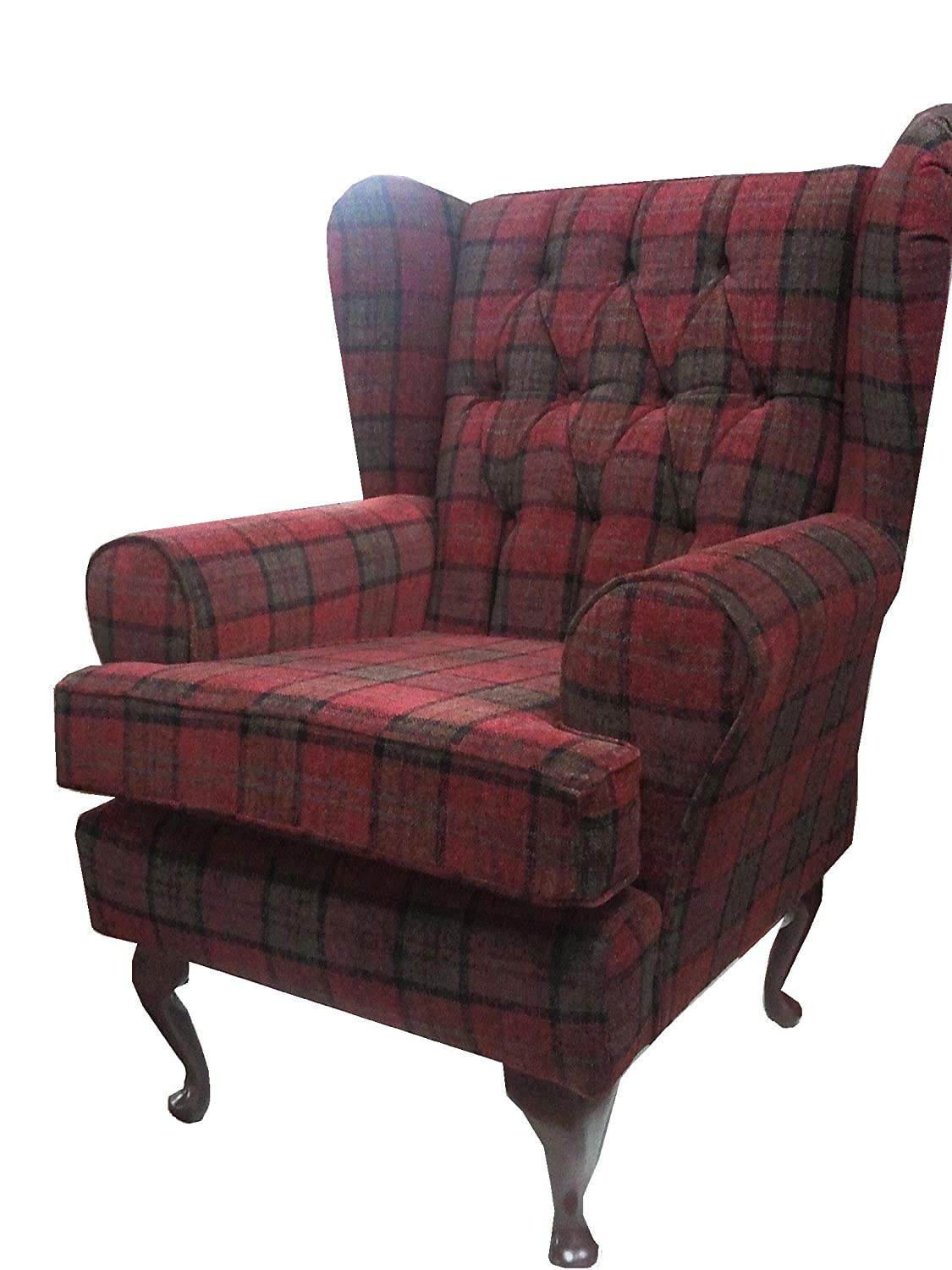Button Back Red Tartan Fabric Queen Anne Design Wing Back Fireside High  Back Chair. Ideal Bedroom Or Living Room Furniture: Amazon.co.uk: Kitchen U0026  Home Part 65