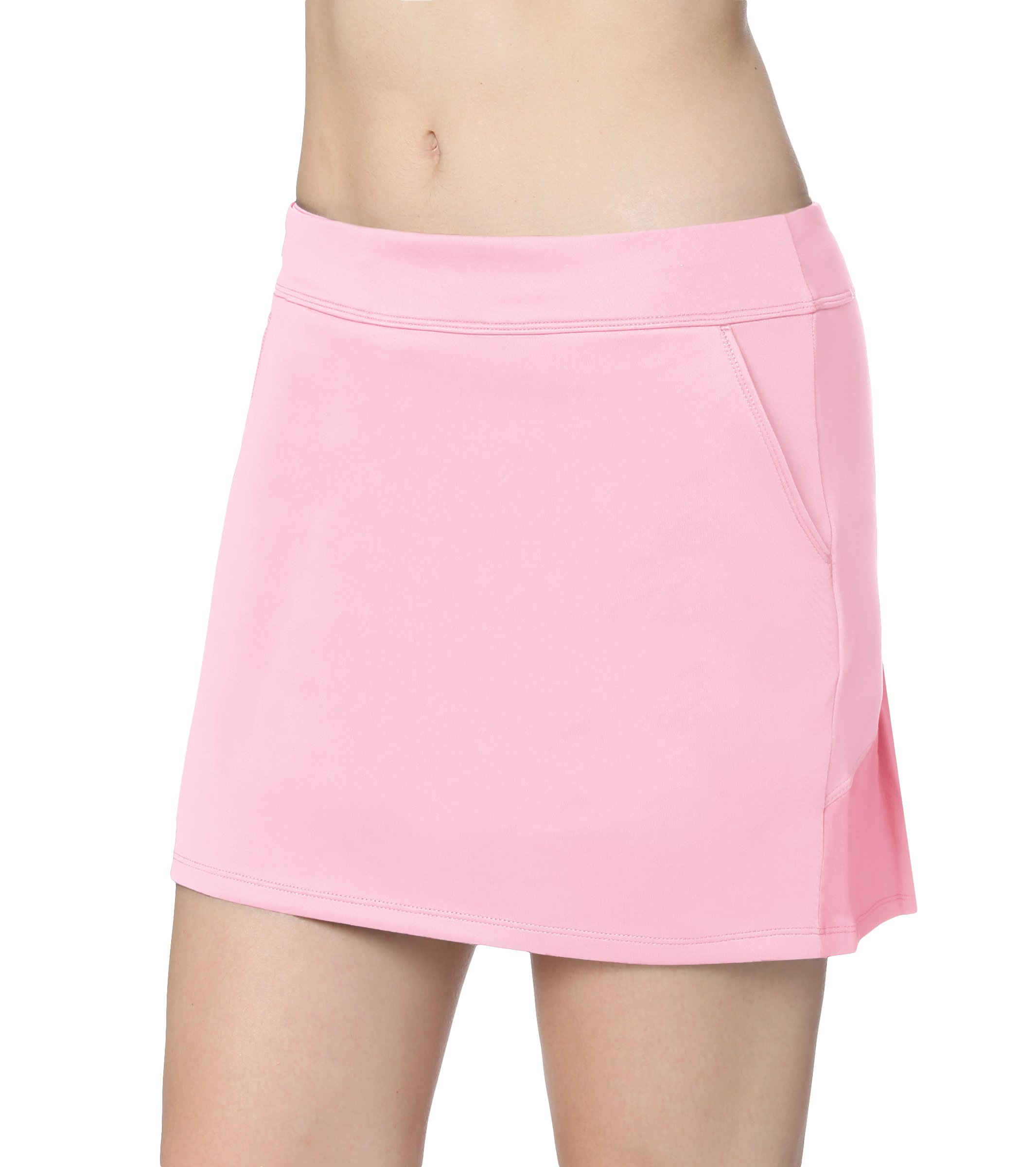 Honour Fashion Women's Elastic Pleated Golf Skort with Pockets(Pink,l)