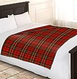 Adore Home – Couverture polaire 120x 150cm motif tartan rouge