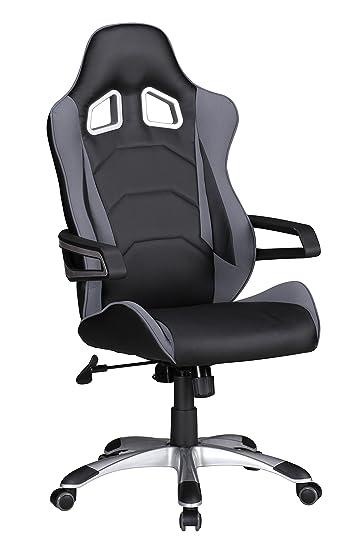 Schreibtischstuhl modern grau  AMSTYLE, Bürostuhl, SPM1.229, Speed Grau Schwarz Gaming Chefsessel ...