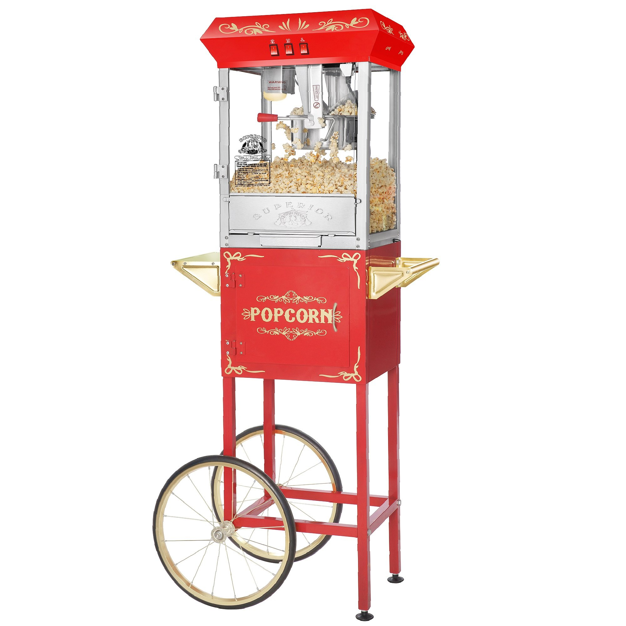 Superior Popcorn 8 Ounce Carnival Popcorn Popper Machine & Cart, 8 oz