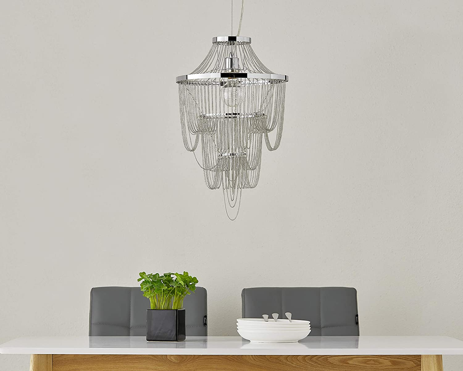 LeeZM Modern Chandeliers for Dining Rooms 3 Tiers Sparkling Iron Chain Pendant Lighting Entryway Foyer Hanging Lamp Ceiling Lighting Fixture Hallway Farmhouse Chandelier for Living Room Bedrooms