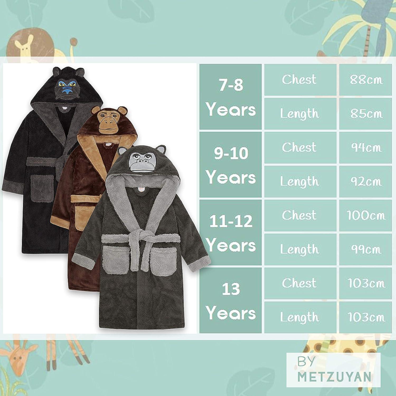 Metzuyan Boys Gorilla Monkey Snuggle Fleece Dressing Gown with Hood and Pockets