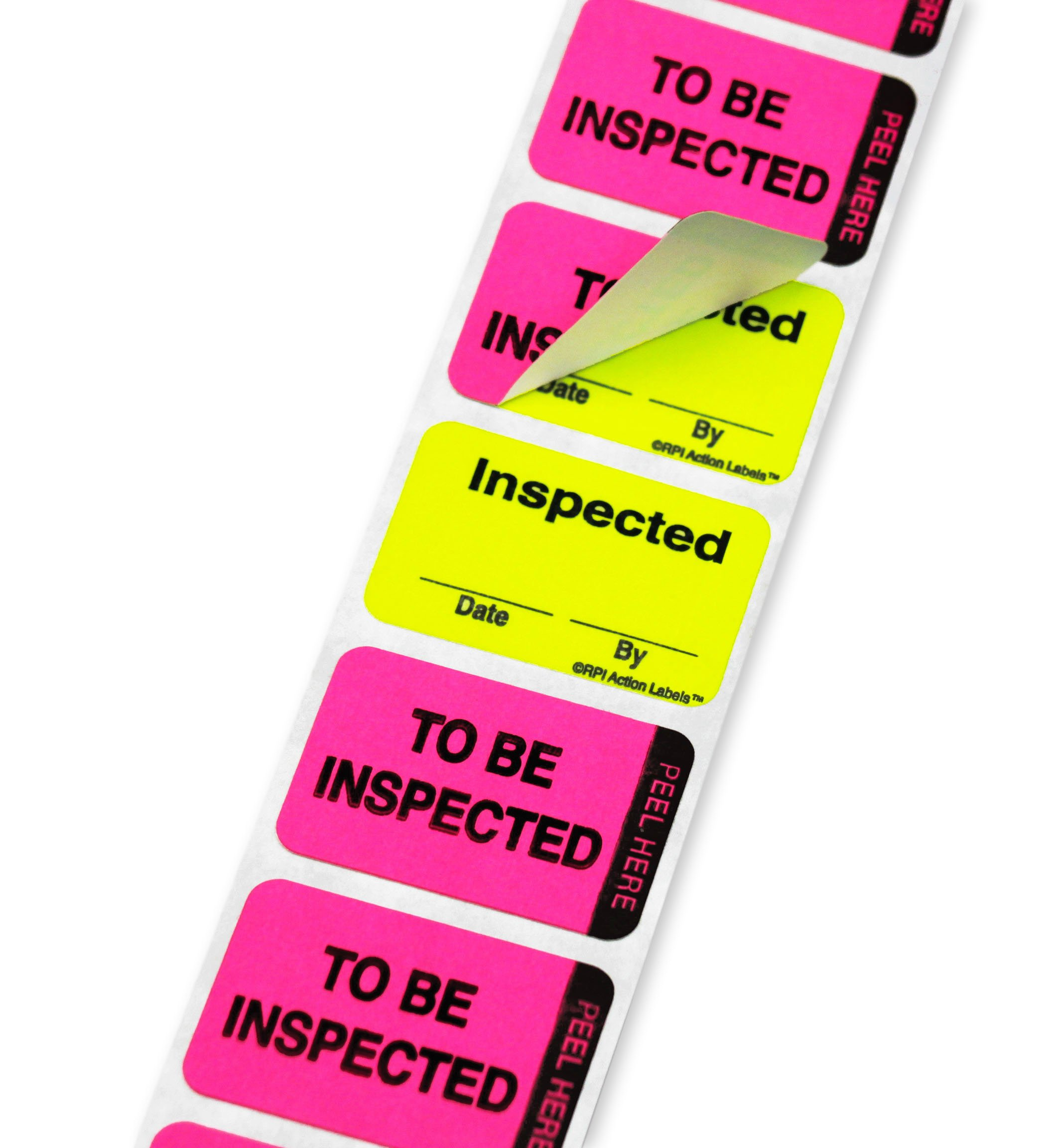ChromaLabel 1 x 1-1/2 inch Fluorescent Pink/Yellow Double Layer QC Label | 'To Be Inspected/Inspected' Imprint | 250/Dispenser Box