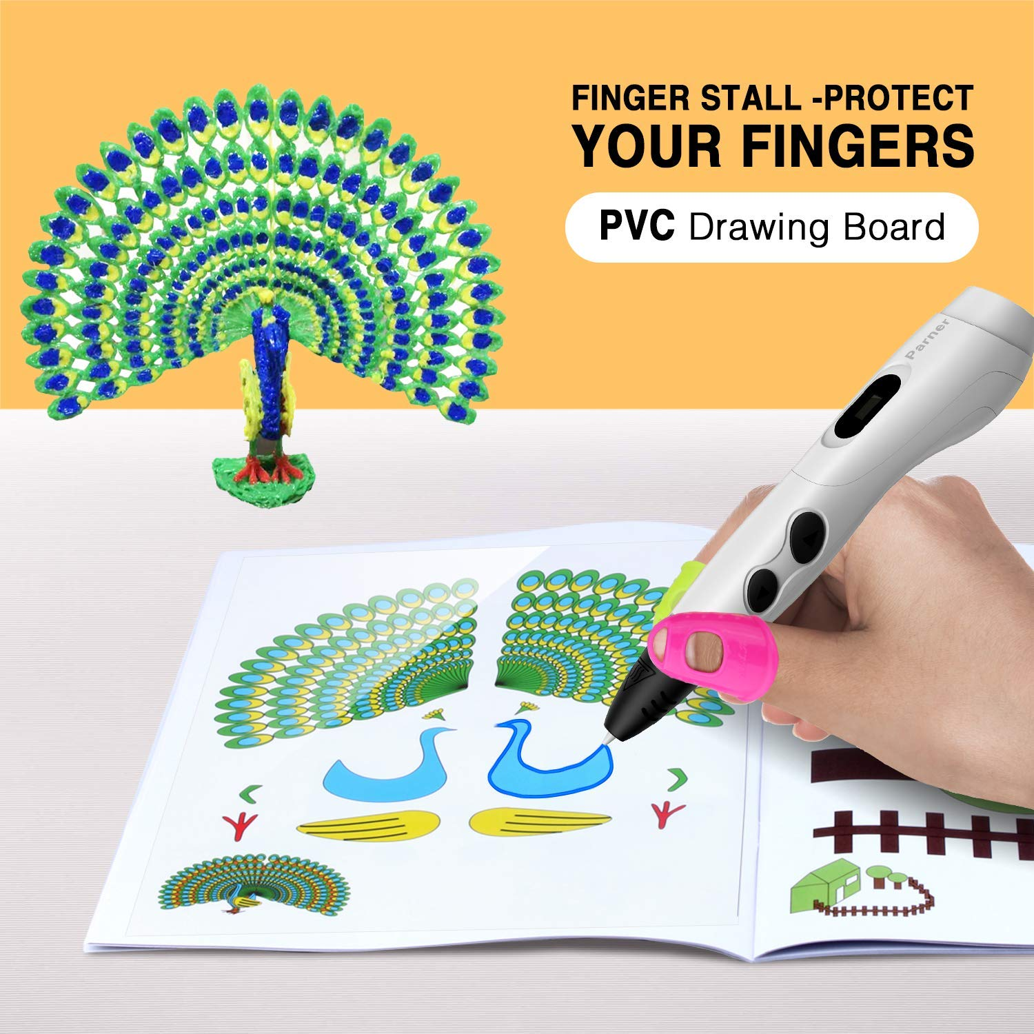PARNER Large 3D Printing Pen Silicone Design Mat with Basic Template Printing Book Clear PVC Drawing BOAD 2 Silicone Finger Caps Great 3D Pen Drawing Tools