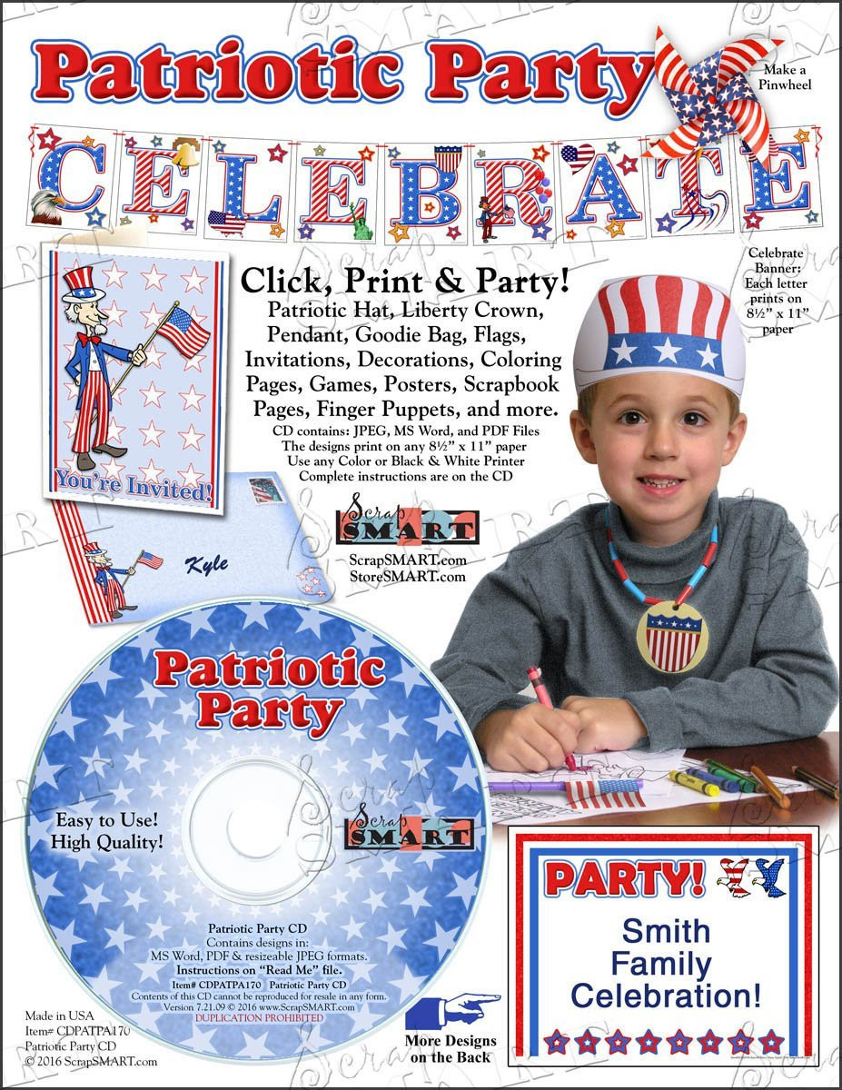 Scrapsmart - Patriotic Party Software Kit - Jpeg, Pdf, and Microsoft Word Files (CDPATPA170) by STORE SMART (Image #8)