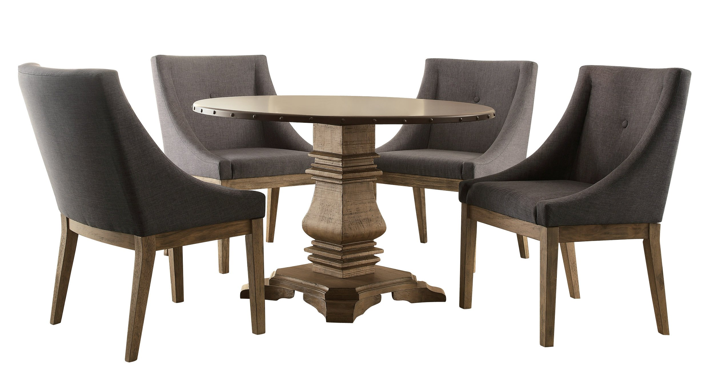 Homelegance Anna Claire 5-Piece Dining Set Round Pedestal Dining Table and 4 Center Button Tufted Curved Arm Design Chairs