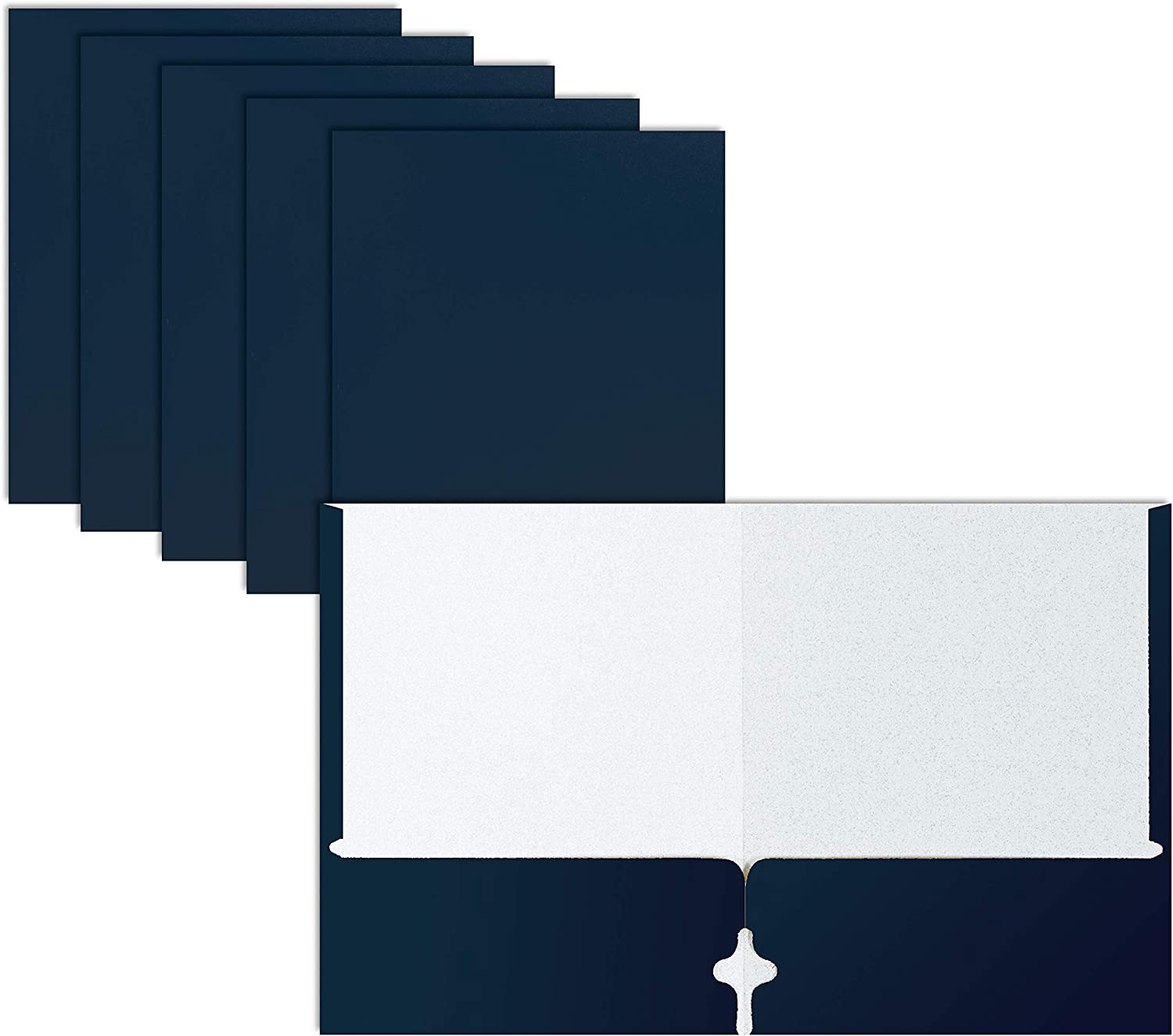 Two Pocket Portfolio Folders, 50-Pack, Navy Blue, Letter Size Paper Folders, by Better Office Products, 50 Pieces, Dark Blue