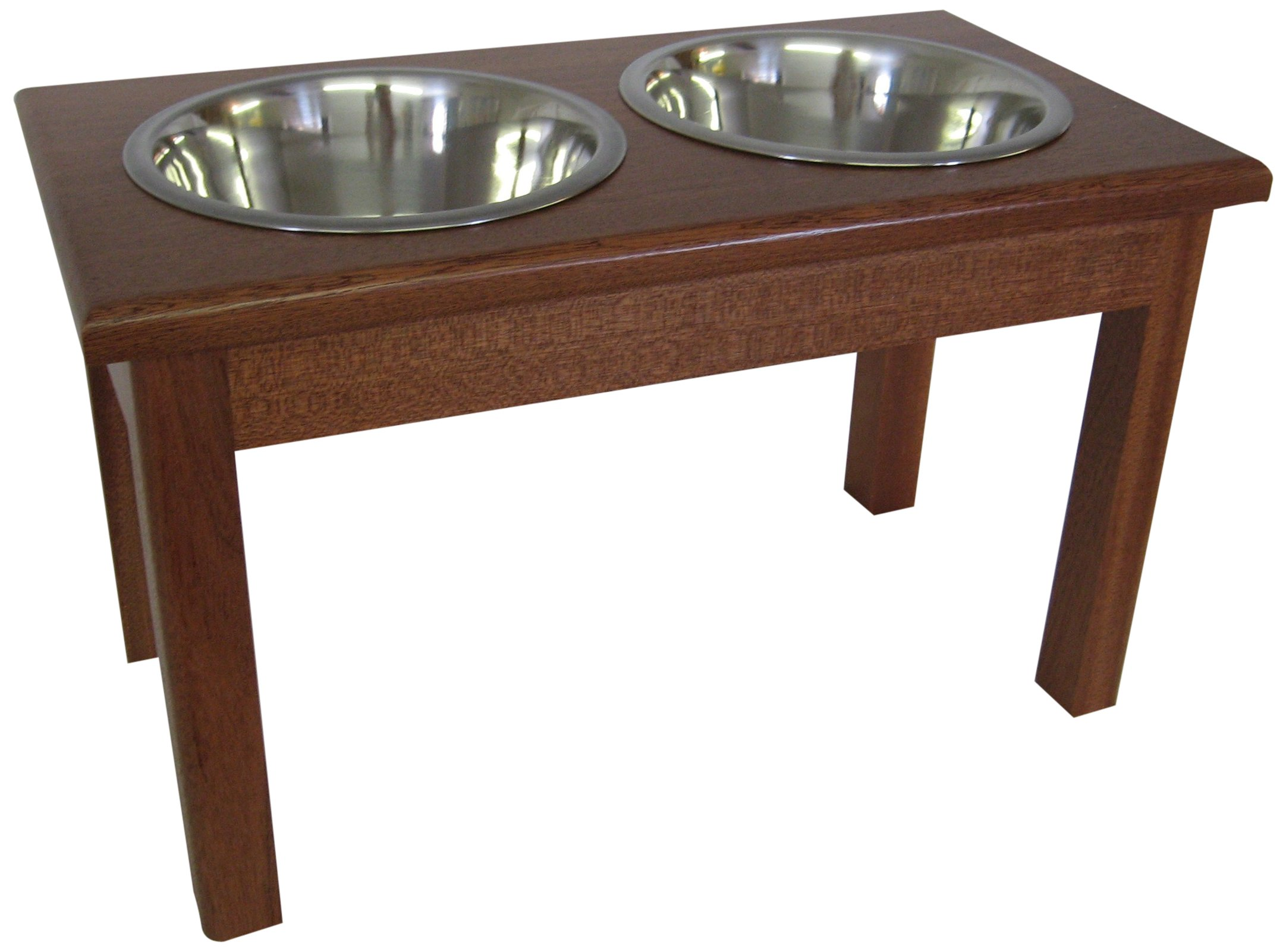 Classic Pet Beds 2-Bowl Traditional Style Mahogany Pet Diner, 16-Inch