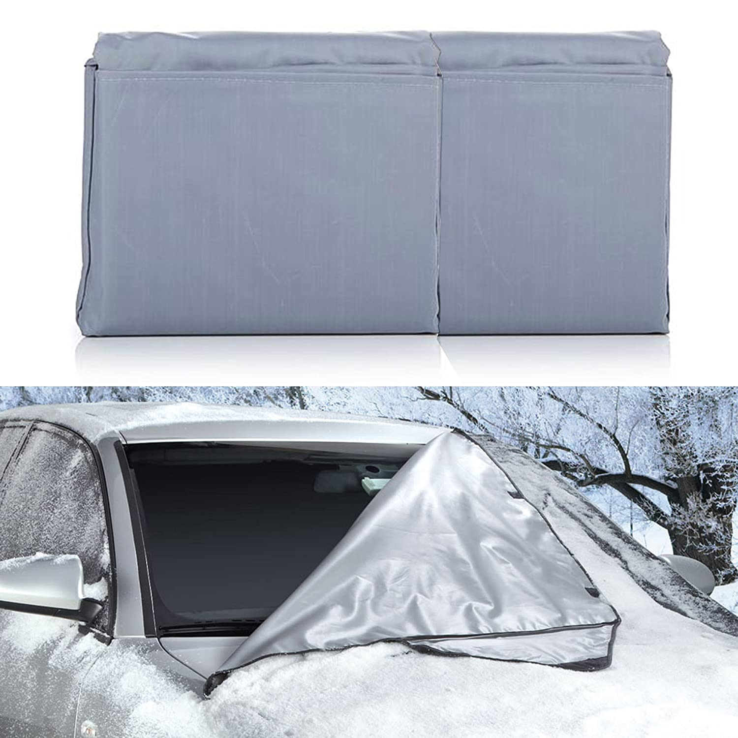 """Weathershield Windshield Wrap - Car Snow Cover (66"""" x 41.5') All Weather Magnetic Wrap With Anti Theft Flaps - For Sedan / SUV / Truck - Auto Protection For Ice, Frost, Leaves & Sun - 1 Pack Vereker Inc."""