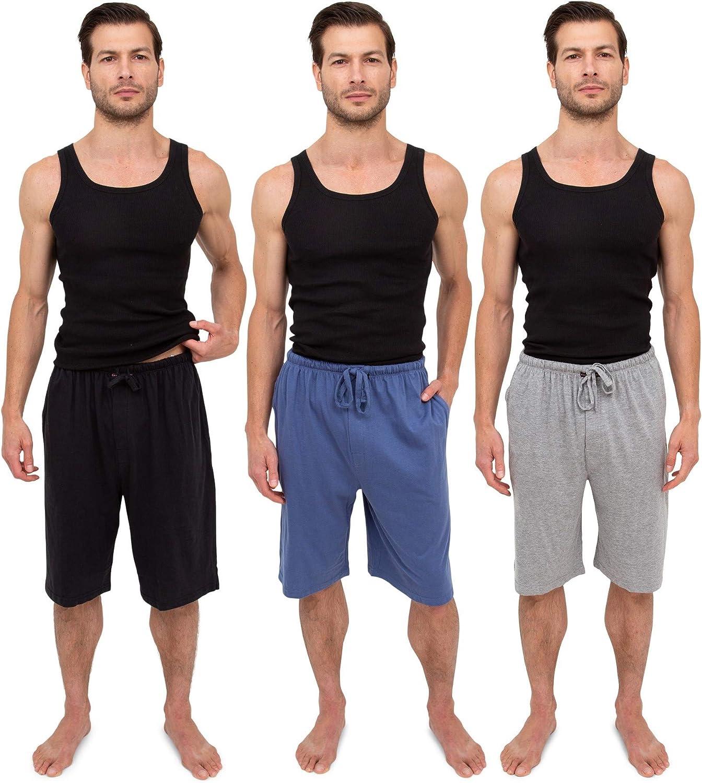 Andrew Scott Men's 3 Pack Soft & Light Cotton Drawstring Yoga Lounge & Sleep Jam Shorts/Jersey Shorts with Pockets