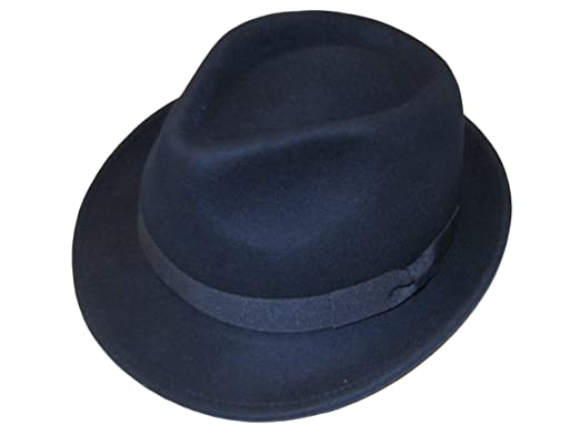 ed1902d1a Unisex Navy 100% Wool Hand Made Felt Fedora Trilby Hat with Band - 4 Sizes