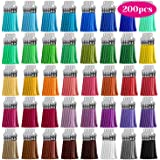 Tassels, Cridoz 200pcs Leather Keychain Tassels Bulk for Crafts, Keychains Supplies, Acrylic Keychain Blanks, Charms…