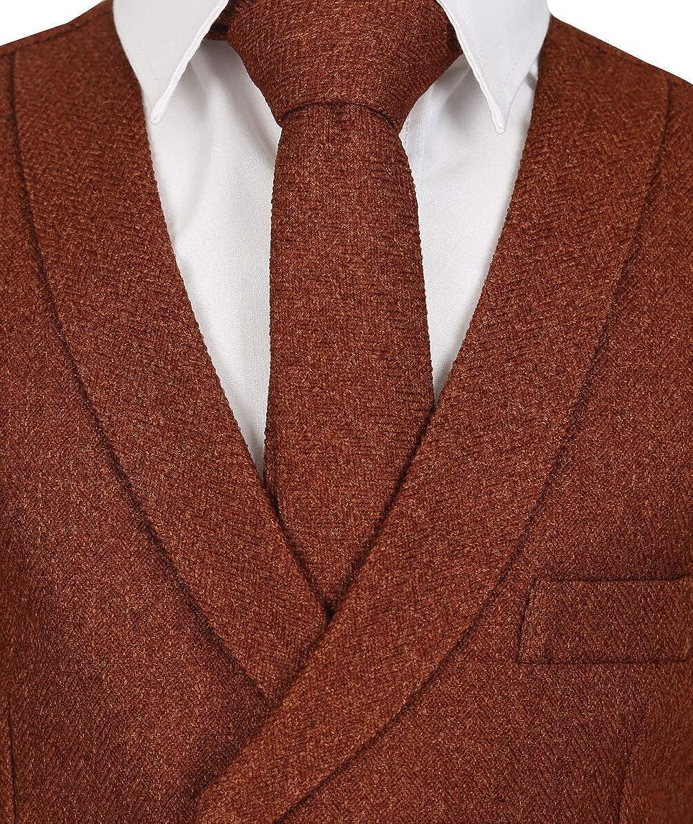 Mens Boys Double Breasted Herringbone Tweed Waistcoat and Tie Set