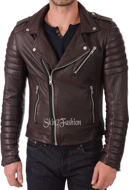 Mens Leather Jackets Motorcycle Bomber Biker Genuine Lambskin 436